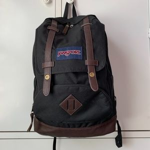 "Jansport Black Fabric/Brown ""Leather"" Lrg Backpack"
